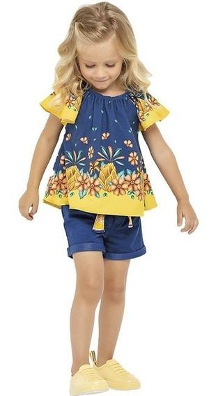 Conjunto Nanai Roupa Infantil Verão Feminino Festa Cetim 8