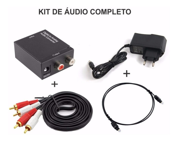 Kit Conversor Áudio Digital Analógico Cabos Optico E Rca