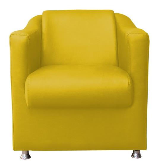 Poltrona Cadeira Tilla Recepção Escritório Corino Amarelo