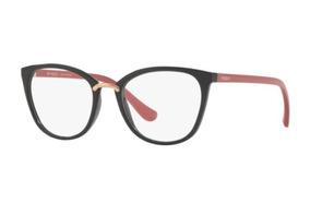 eb2063119 Armação Oculos Grau Vogue Vo5121 2553 51 Preto Brilho Rosa