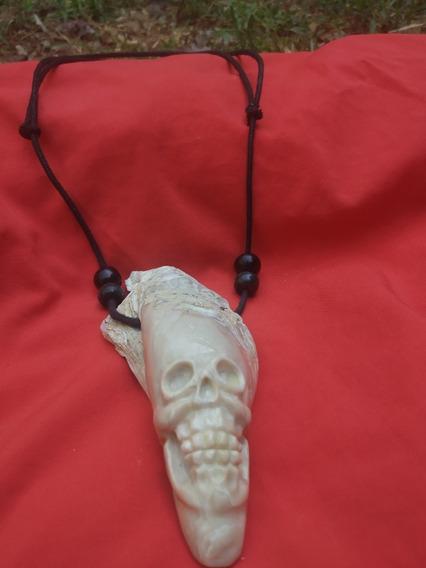 Collar De Piedra Natural Guerrero De La Muerte Estilo Maya