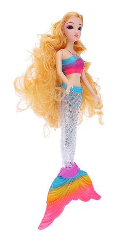 Imagen 1 de 3 de Rainbow Lights Sirena Muñeca Con Pelo Rizado Para
