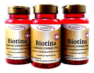Kit 3 Biotina Firmeza Crescimento Saúde Cabelos Unhas Pele