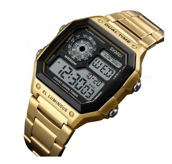 Relógio Masculino Retro Skmei 1335 Original Dual Time Aço