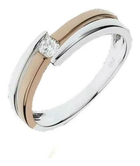 Anel Solitário De Ouro E 0,05 Quilate Em Diamantes