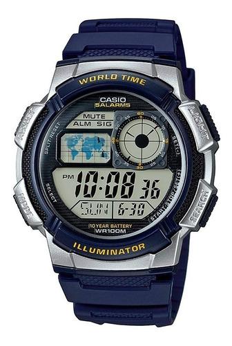 Reloj Casio Ae 1000w Verde Militar 5 Alarmas 100% Original