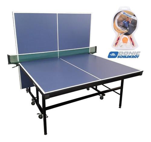 Mesa De Ping Pong Fronton 18mm Plegable Ruedas Red Y Paletas