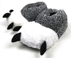 Pantufla Garra De Unicornio (gris Con Blanco)