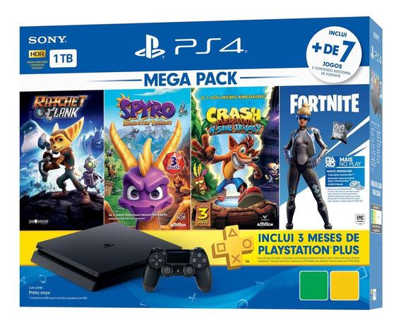 Sony PlayStation 4 Slim 1TB Mega Pack: Ratchet & Clank/Spyro Reignited Trilogy/Crash Bandicoot: N Sane Trilogy/Fortnite jet black