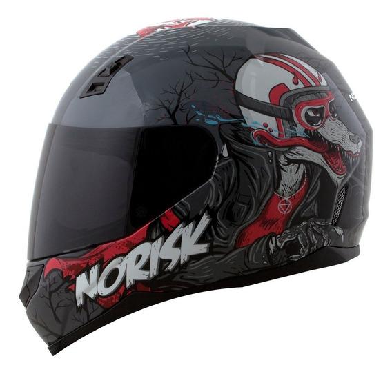 Capacete Moto Norisk Ff391 Wolf Lobo Cinza Preto