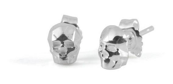 Aretes Calavera Skull En Plata