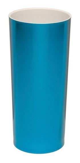 Kit 100 Copos Long Drink Metalizado Azul Com Interior Branco