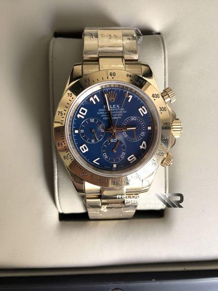 Rolex Dourado Daytona Azul 40mm Safira Automático