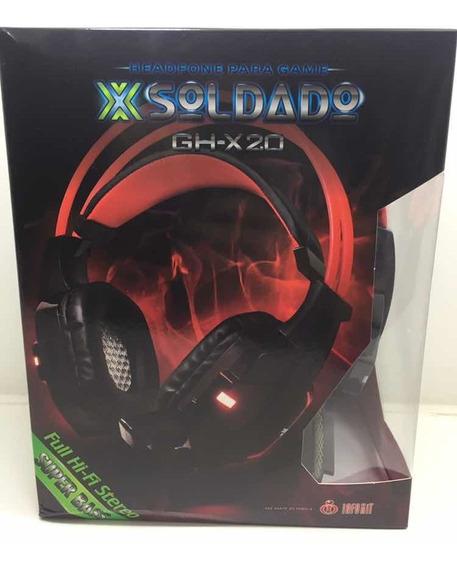 Fone De Ouvido C/microfone Exbom Gamer Gh-x20 Soldado C/ Led