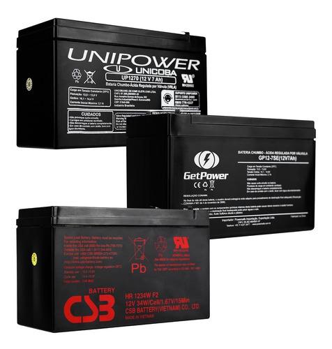 Imagem 1 de 6 de Bateria 12v 7a Selada Para Nobreak Alarmes Cerca Elétrica