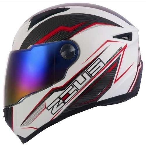 Capacete Zeus 811 Speed White Al12 Red, 56,58,60 E 62