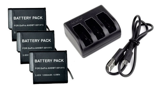 Kit 3 Baterias P Gopro Hero 5 Hero 6 + Carregador Triplo