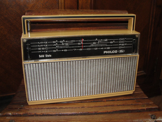 Antigo Radio Philco Ford Portatil Marrom Claro Década De 70
