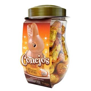 Chocolates Turin Conejos Con Leche 30 Piezas. Vitrolero