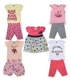 Kit Lote Roupas Infantil 5 Conjuntos Feminino Tamanho 1 Ao 8