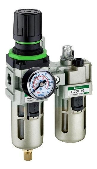 Filtro Ar 3/8 Regulador Lubrificador Manômetro Compressor