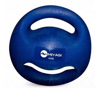 Balón Pelota Medicinal Doble Agarre 4 Kg Azul En Pvc Miyagi