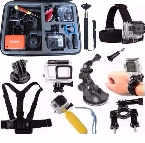 Kit Para Gopro Hero 5 Hero 6 Mala Grande Caixa Estanque Bike