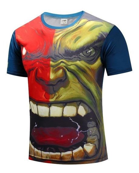 Camisa Compressão Hulk Manga Curta Cosplay Marvel Academia