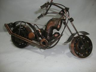 Miniatura Moto Artesanal Ferro - Mede 30cm Rica Em Detalhes