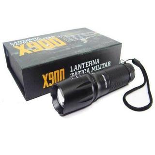 Lanterna Tatica Militar X900 Recarregavel Com Zoom Completa Camping Trilha Sobrevivência
