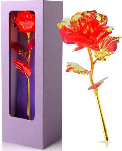 Imagen 1 de 7 de Crystal Rose Púrpura Caja De Regalos De Cumpleaños Pa...
