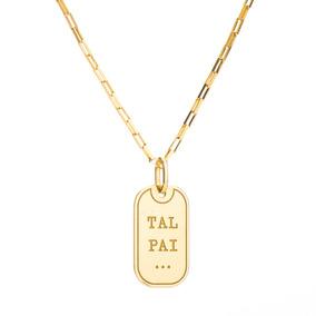 Corrente Com Pingente Placa De Ouro 18k Tal Pai 60cm Ga04043