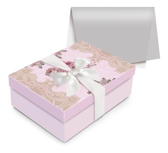 Kit Caixa C/papel Seda Laço Presente Flores Rosa P
