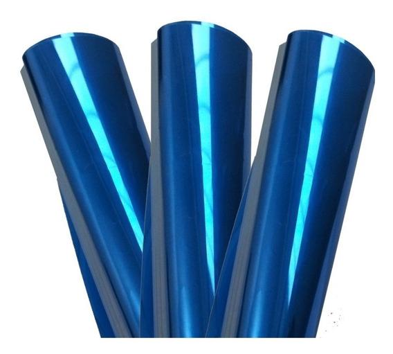 Pelicula Insulfilm Espelhado Azul 7m X 75cm + Brinde