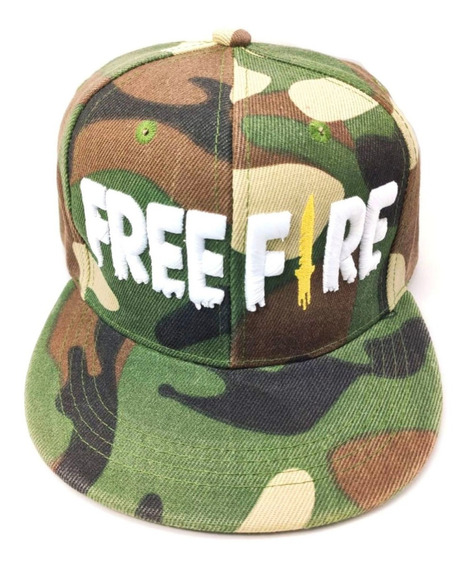 Gorra Free Fire Adultos Camuflaje Army Bordado Blanco Plana