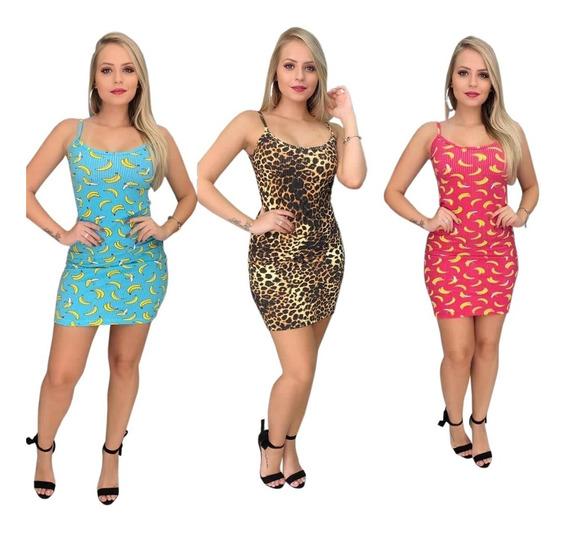Vestido Canelado Oncinha Animal Print Moda Verão Lançamento