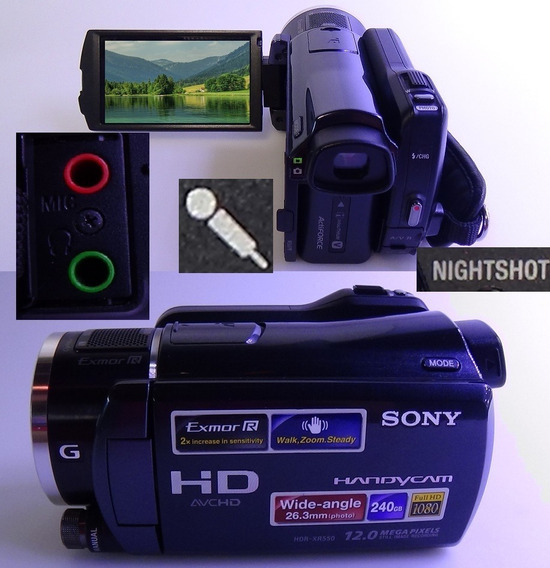 Filmadora Sony Hdr-xr550v Entrada De Microfone Nightshot