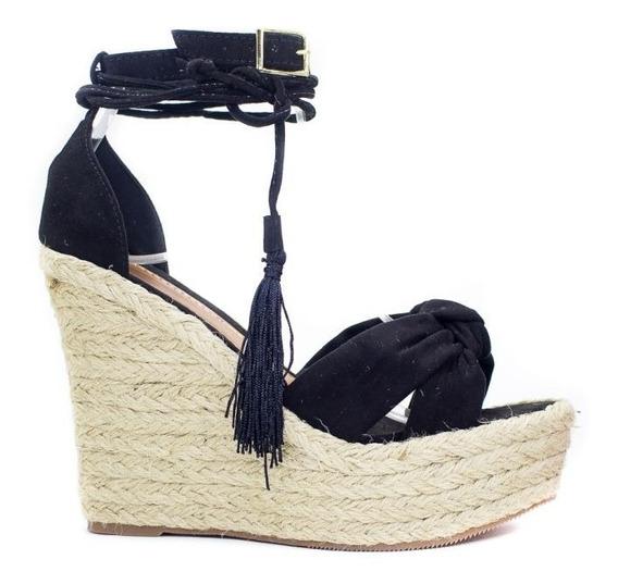 Sandália Plataforma Anabela Preta Corda 2 Formas De Usar