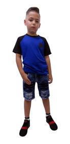 Kit C 4 Conjuntos Masculino Menino Camiseta E Bermuda Jeans