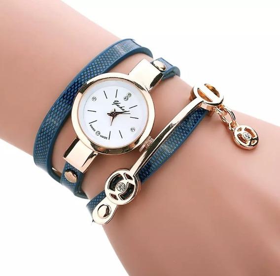 Relógio Feminino Pulseira Em Couro Retro Vintage Bracelete