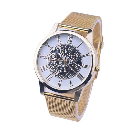 Relógio De Pulso Dourado Números Romanos Mecanismo