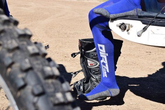 Medias Motocross Mx Dirtone Largas Color Azul Juri Atv