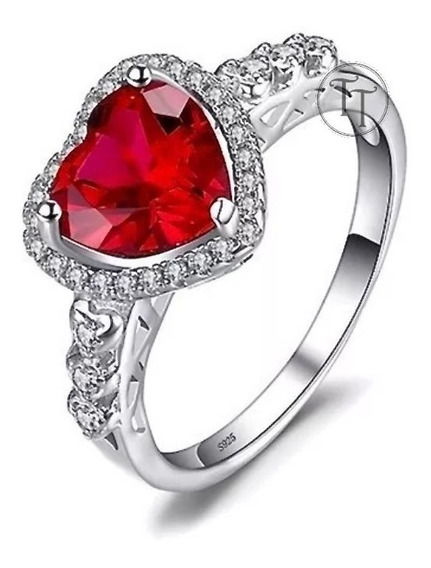 Anillo Rubi 2.72 Ct En Plata Esterlina 925 Cuore