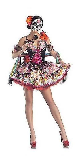 Disfraz Adulto Mujer Dia De Muertos Vestido Catrina Lujo