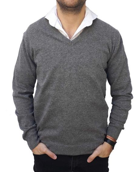 Sweater Pulouver Cuello V Hombre Lana Calidad Premium