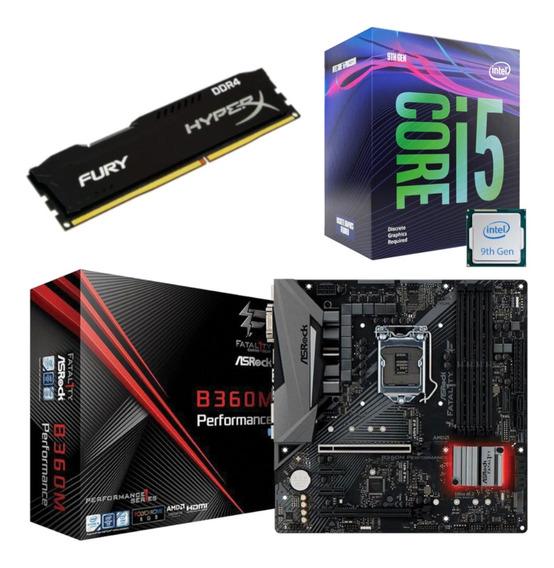 Kit Intel I5 9400f + Asrock Fatal1ty B360m + Hx 8gb 2666