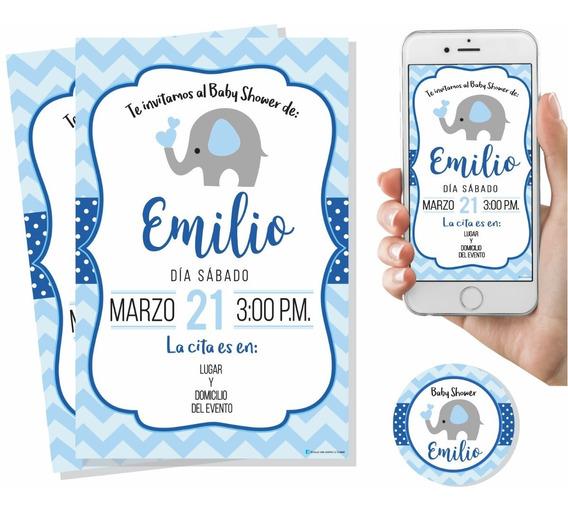 Invitación Baby Shower Elefante Niño Digital Imprimible