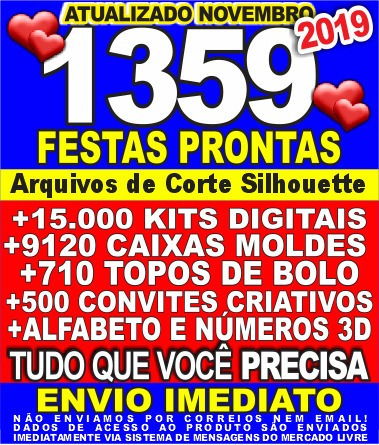 Arquivos Silhouette Festas Prontas+15000kits Digital +moldes