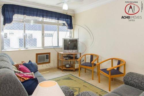 Apartamento Com 2 Dormitórios (1 Suíte), Dependência E 1 Vaga, À Venda, 107 M², Por R$ 500.000,00 - Pompéia - Santos/sp - Ap10439