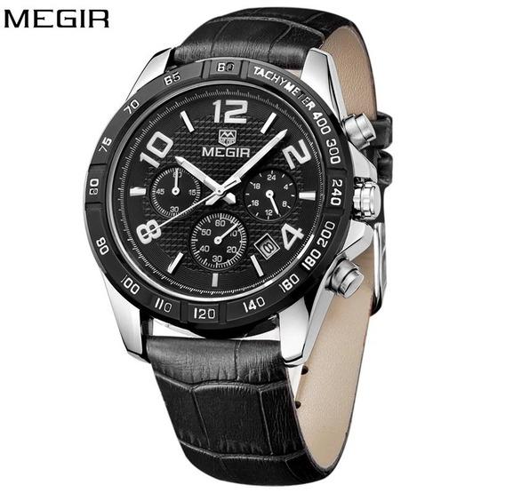 Relógio Masculino Megir 2014g Aço Inoxidável Couro Original